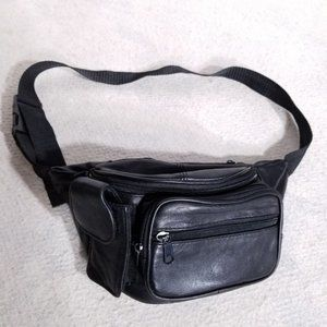 Leather Black Fanny Pack Multiple Zippered Pockets